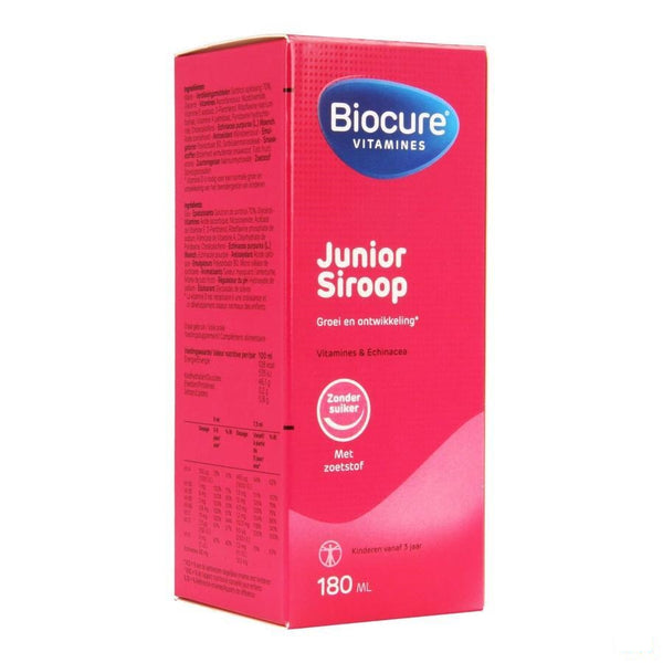 Biocure Junior Siroop Suikervrij 180ml - Qualiphar - InstaCosmetic