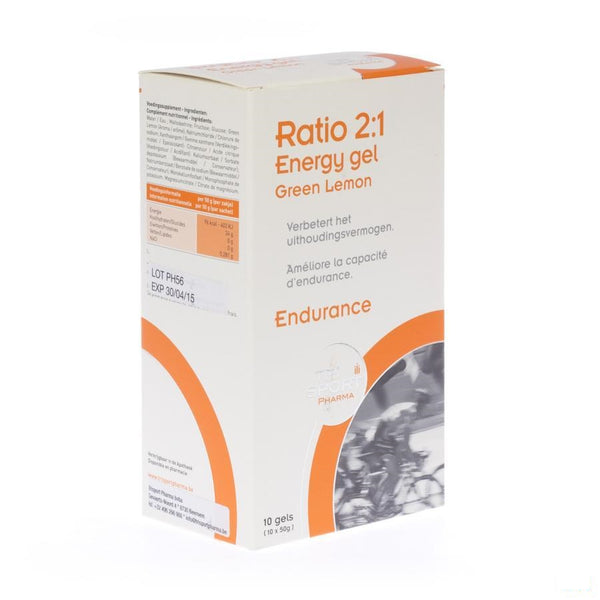 Ratio 2:1 Energy Gel Green Lemon Zakje 10x50g - Trisport Pharma - InstaCosmetic