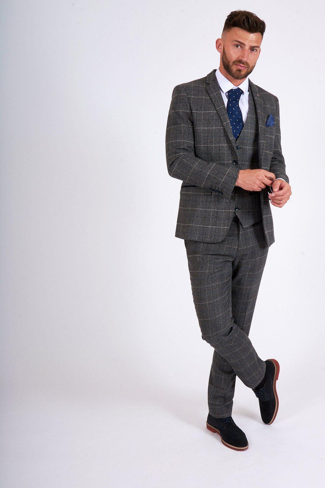 Scott - Grey Tweed Check Thread Blazer