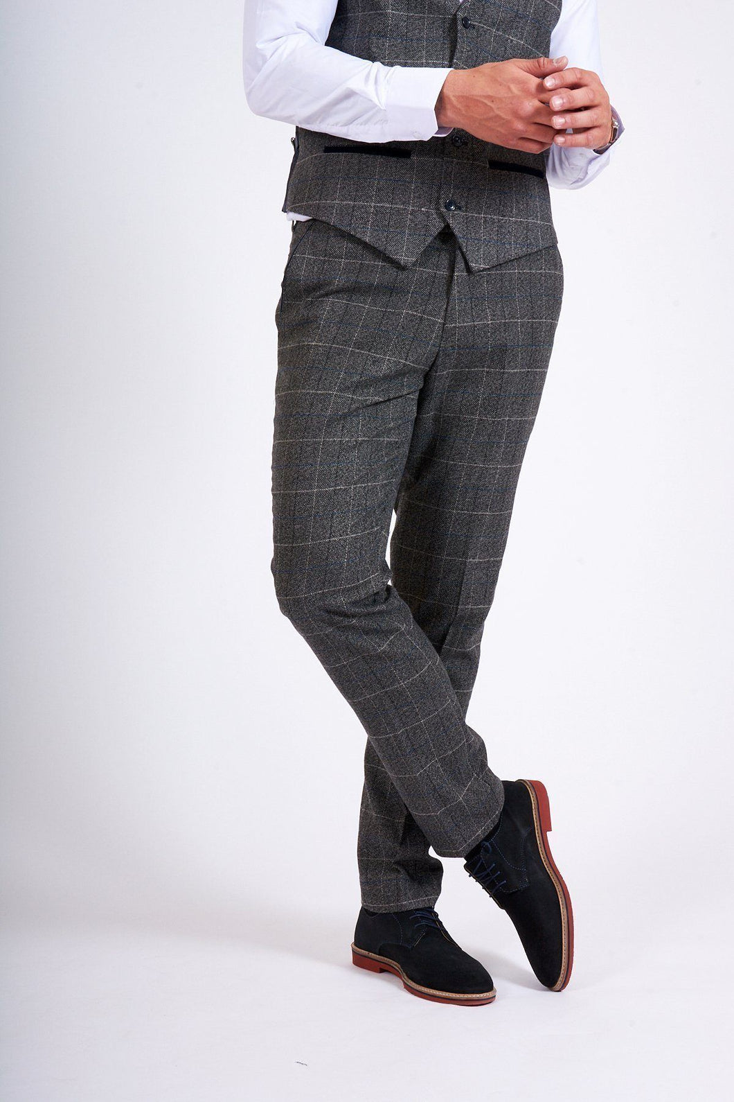 Scott - Grey Check Tweed Trousers