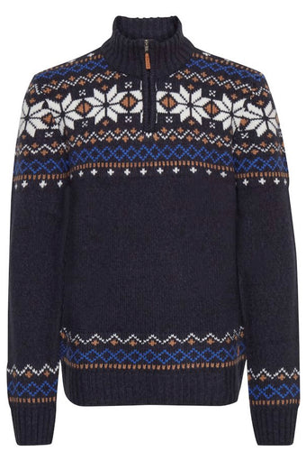 Blend Pullover Dark Navy Blue Patterned