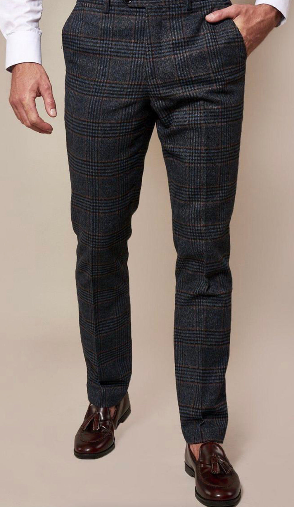 LUCA - Navy Check Tweed Trousers