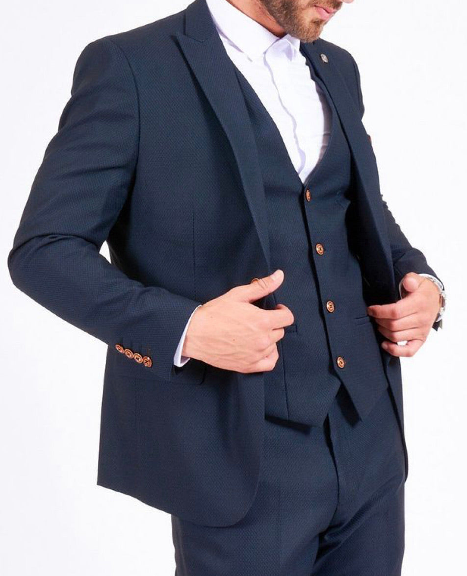 MAX - Navy Blue Blazer with Contrast Buttons