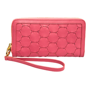 Woven Leather Wallet | Pink