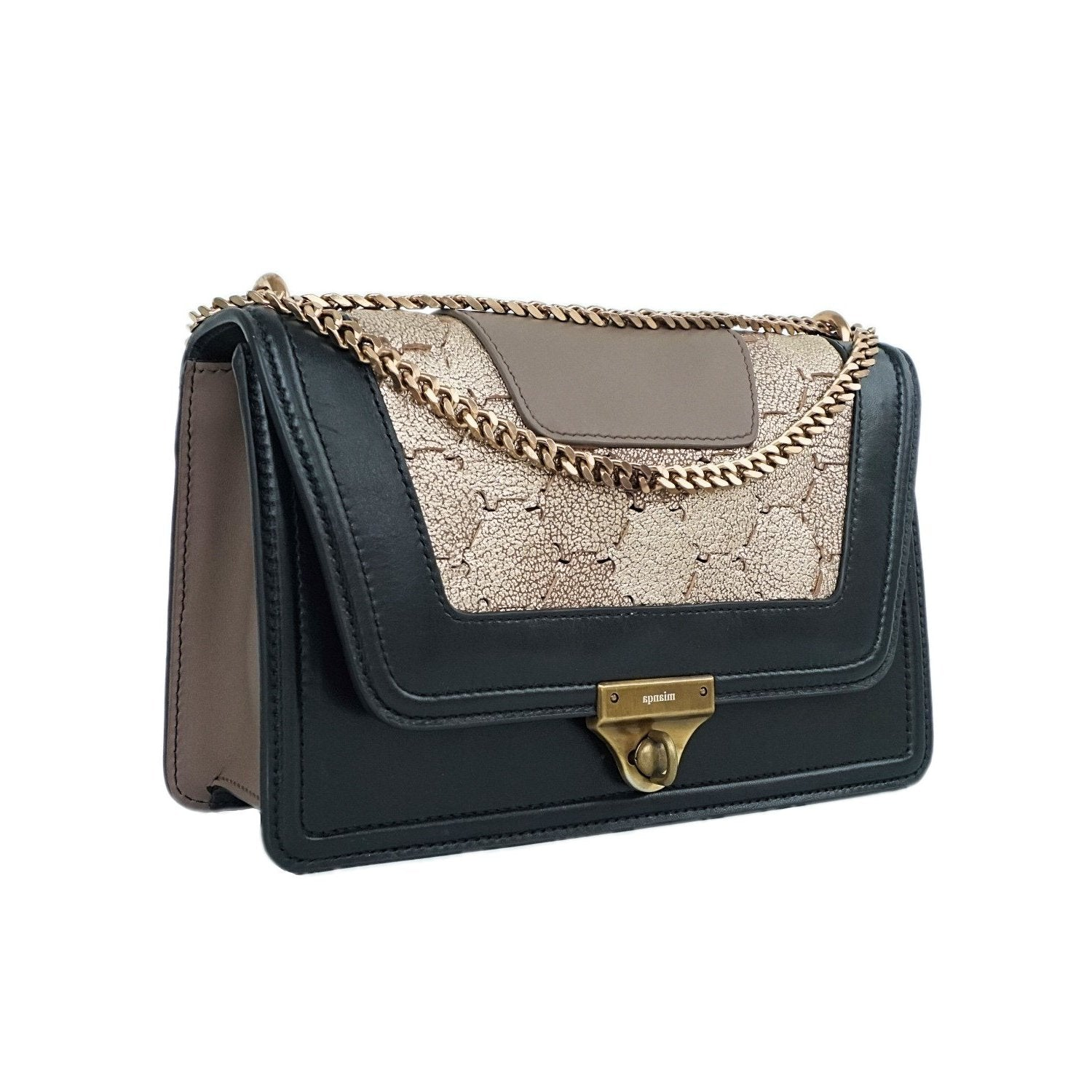 M U A L L A | Leather Shoulder Bag Black/Gold
