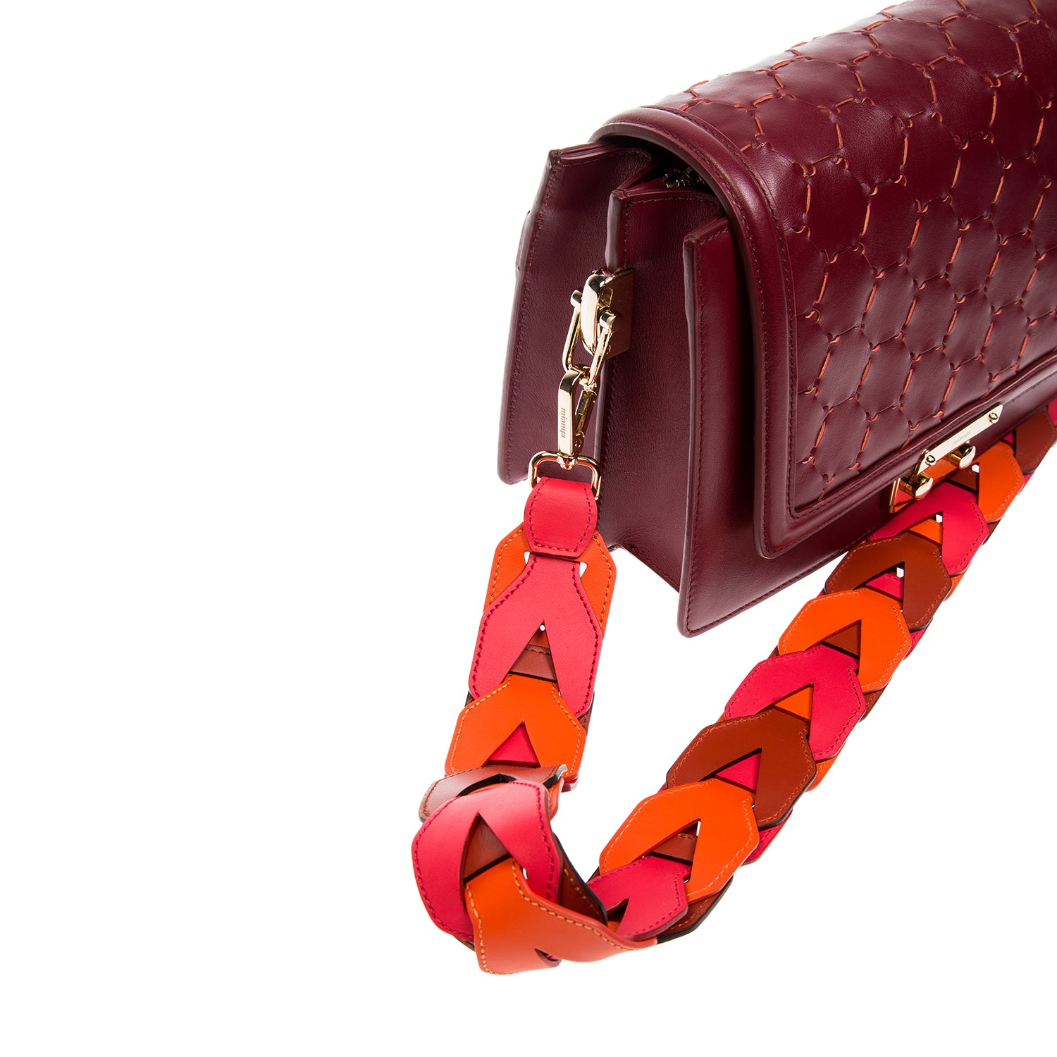 Woven Leather Shoulder Strap Red Orange