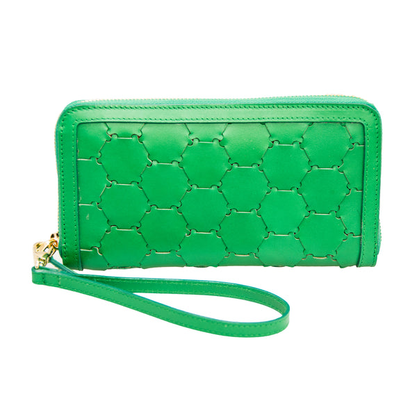 Woven Leather Wallet | Green