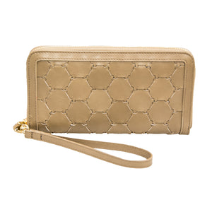 Woven Leather Wallet | Taupe