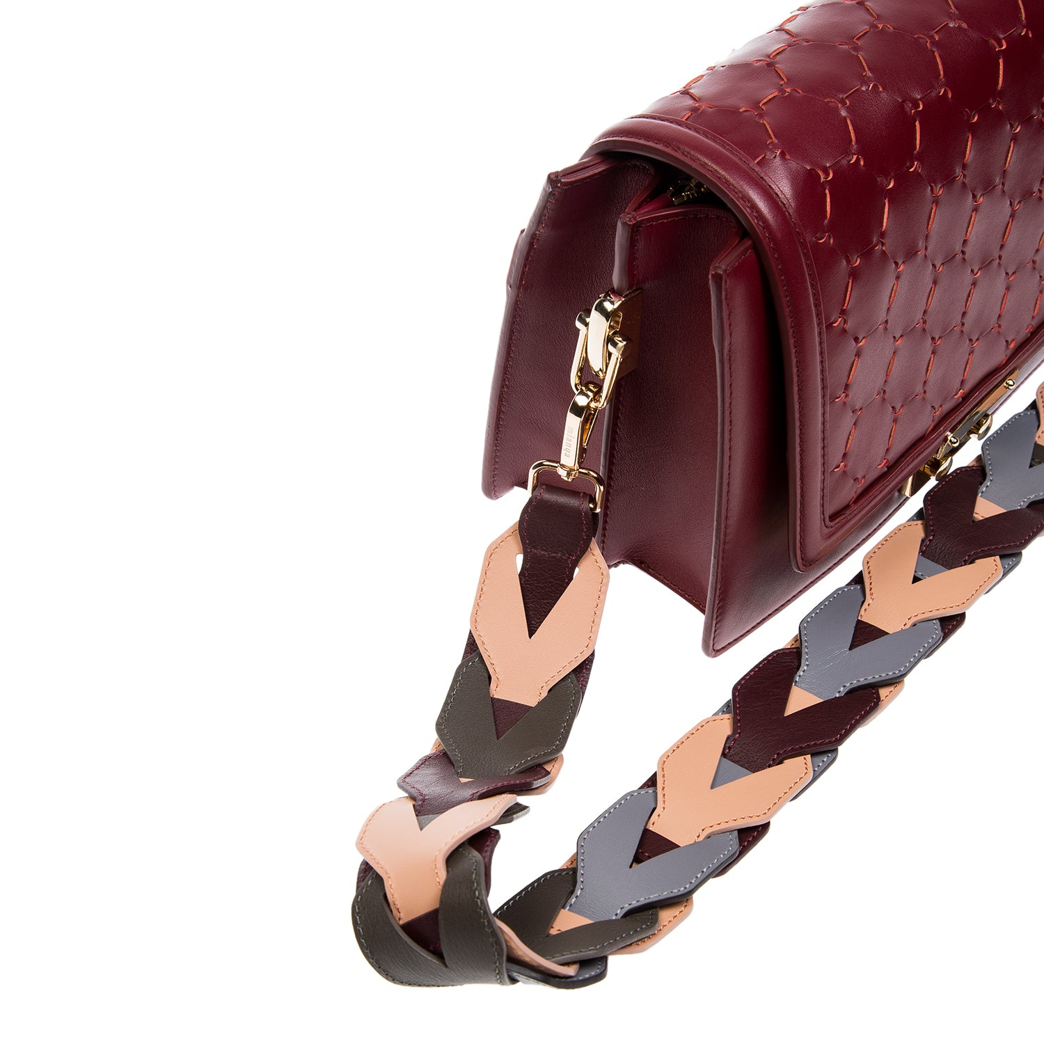 Woven Leather Shoulder Strap Violet Blush Bordeaux