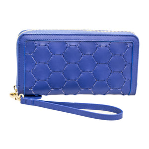 Woven Leather Wallet | Ocean Blue