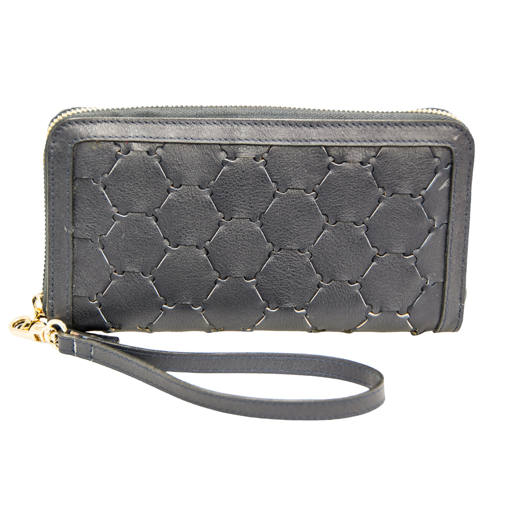 Woven Leather Wallet | Black