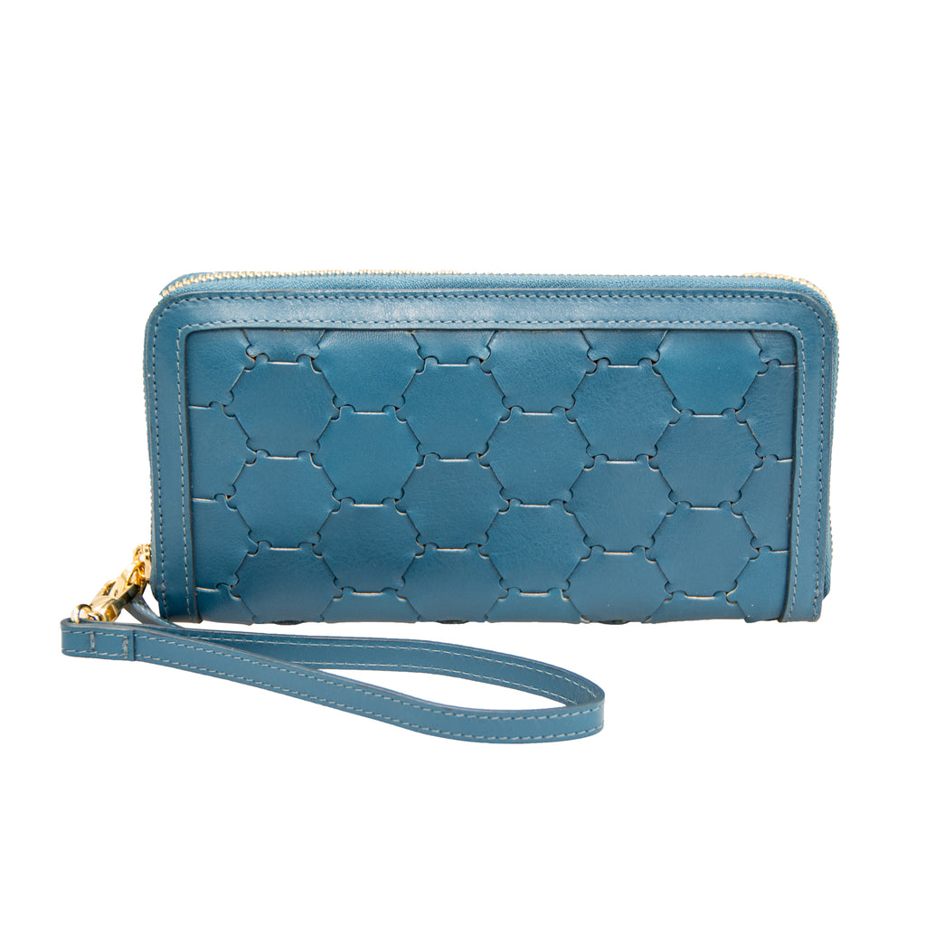 Woven Leather Wallet | Blue