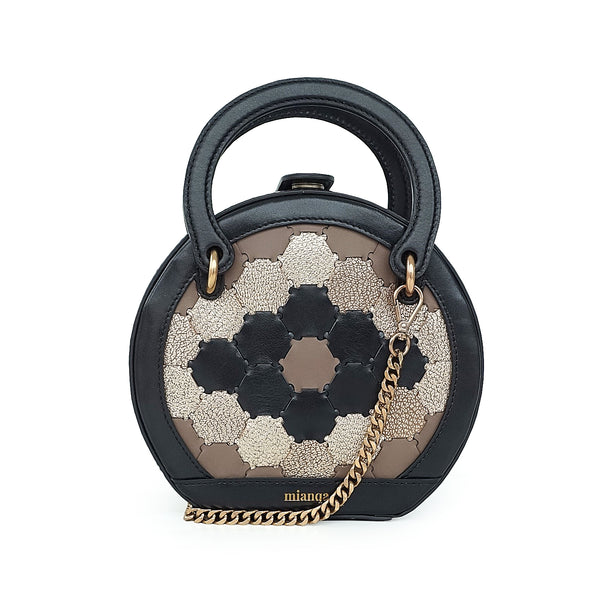 H A L I D E | Leather Circle Crossbody Bag Black/Gold