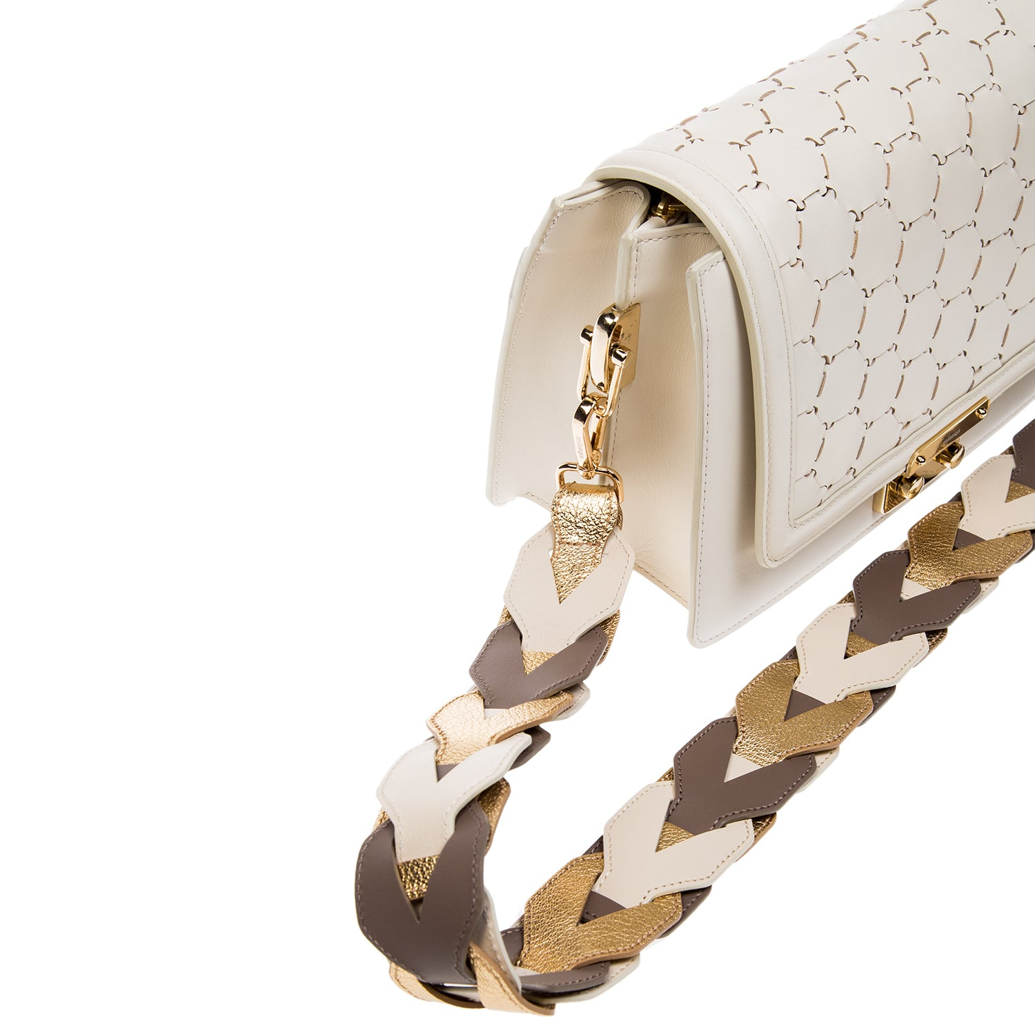 Woven Leather Shoulder Strap Gold