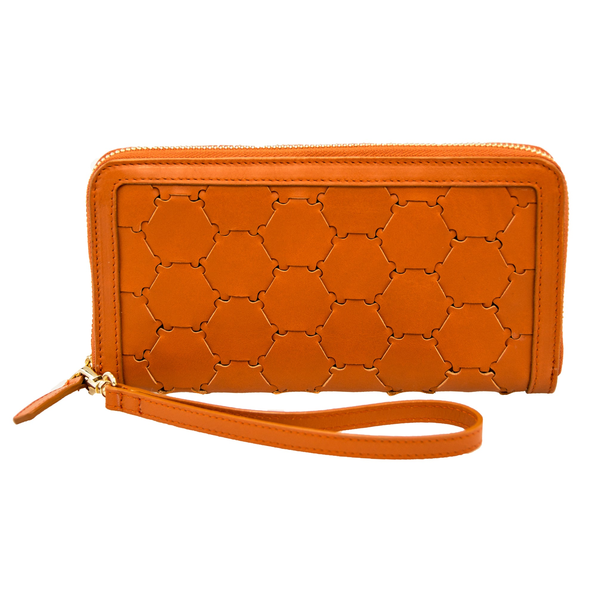 Woven Leather Wallet | Orange