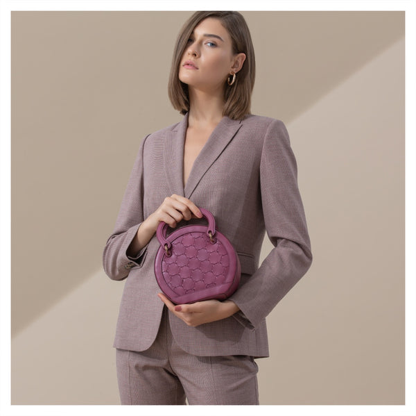 H A L I D E | Leather Circle Crossbody Bag Mauve