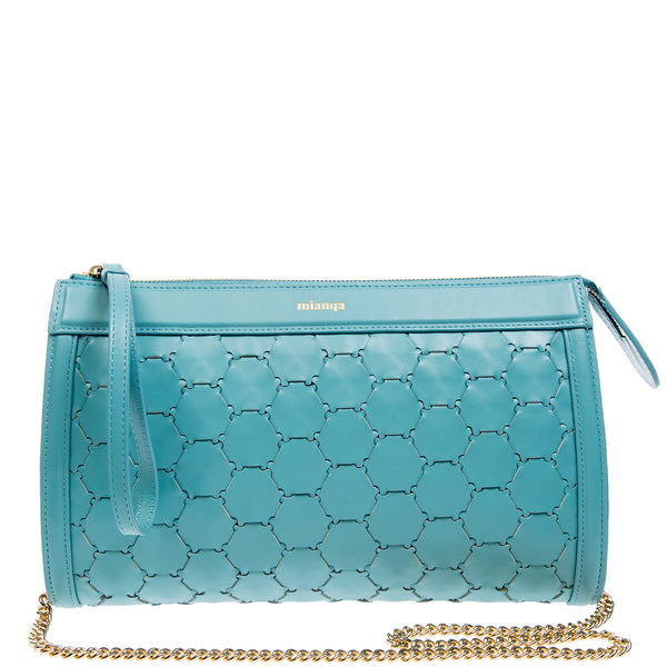 Leather Clutch | Light Blue