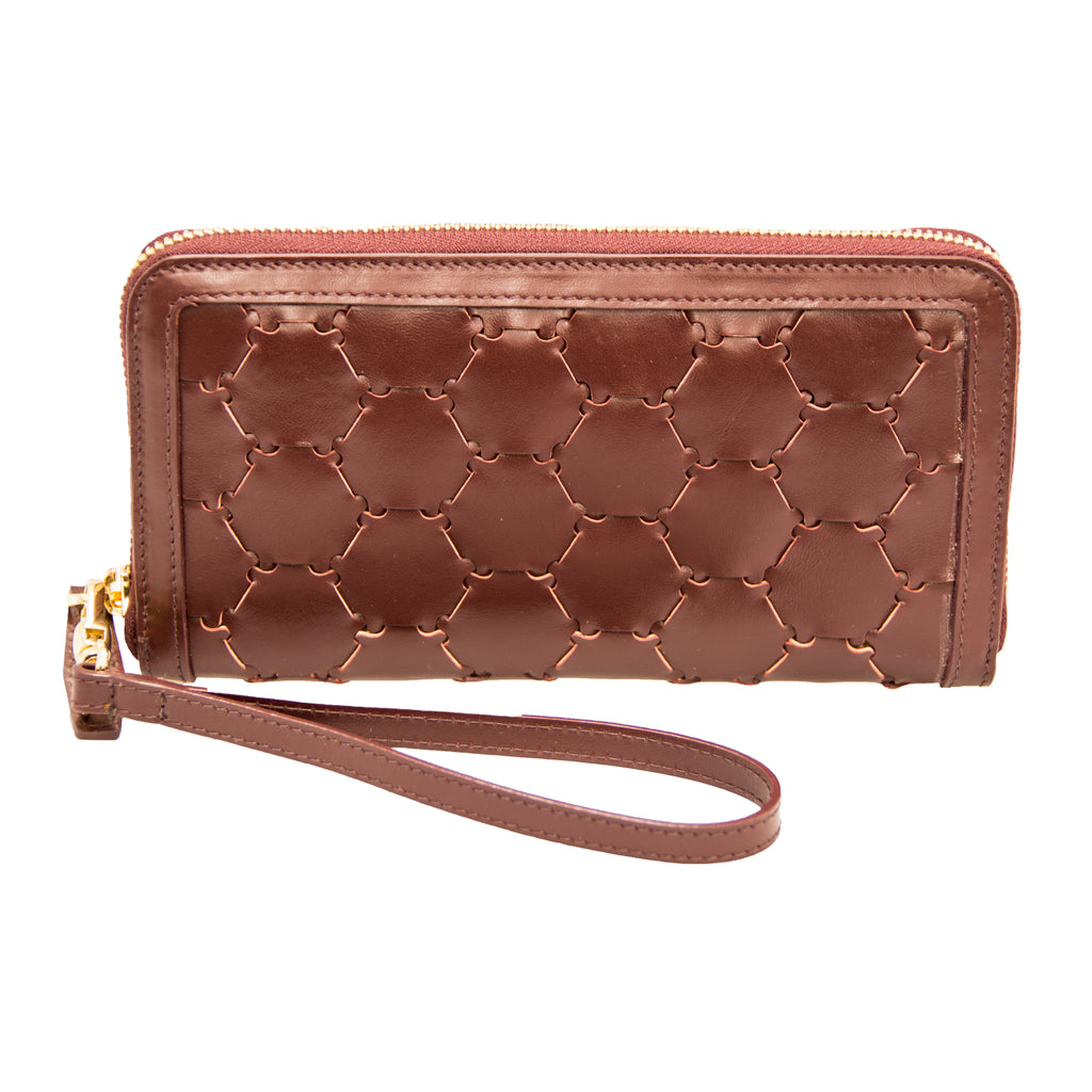 Woven Leather Wallet | Bordeaux