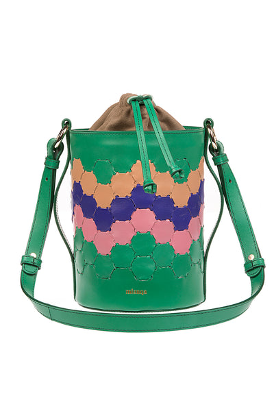 F E R I D E | Leather Cylinder Bag Green