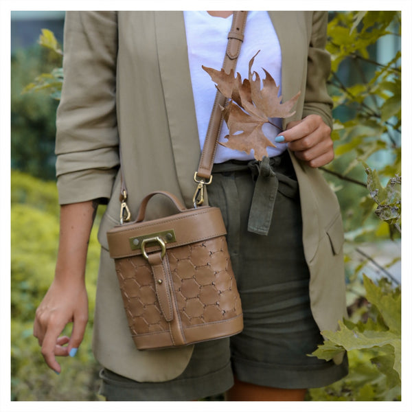 S A B I H A | Leather Oval Crossbody Bag Tan