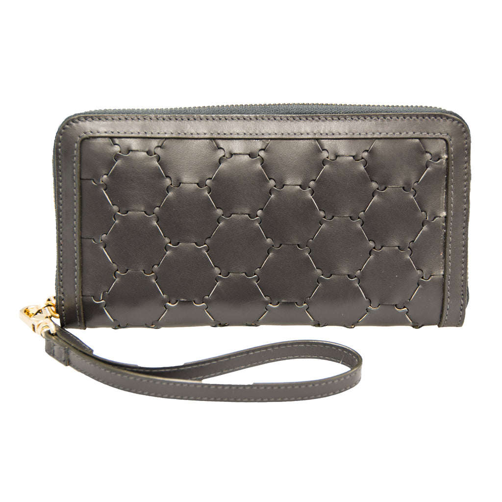 Woven Leather Wallet | Anthracite