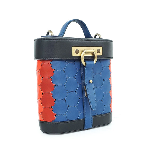 S A B I H A | Leather Oval Crossbody Bag Multi-Color Blue