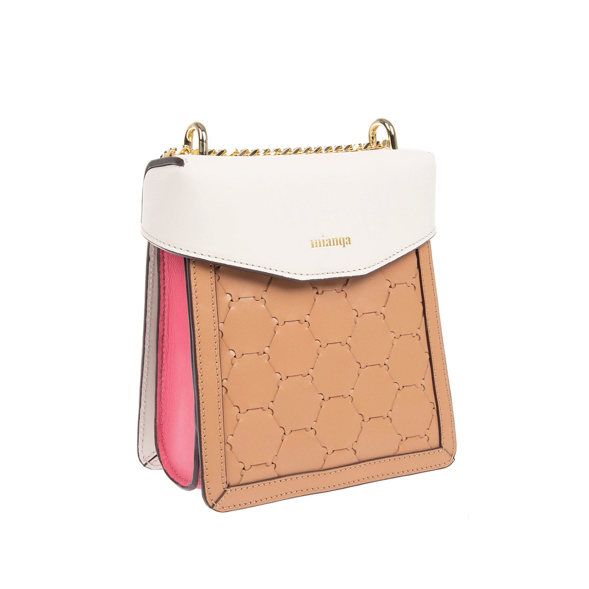 F U R E Y A | Leather Crossbody Bag Camel/ White