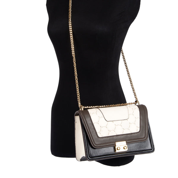 M U A L L A | Leather Shoulder Bag Black/White