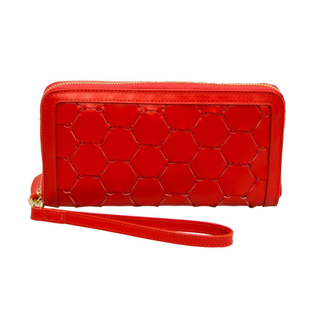 Woven Leather Wallet | Red