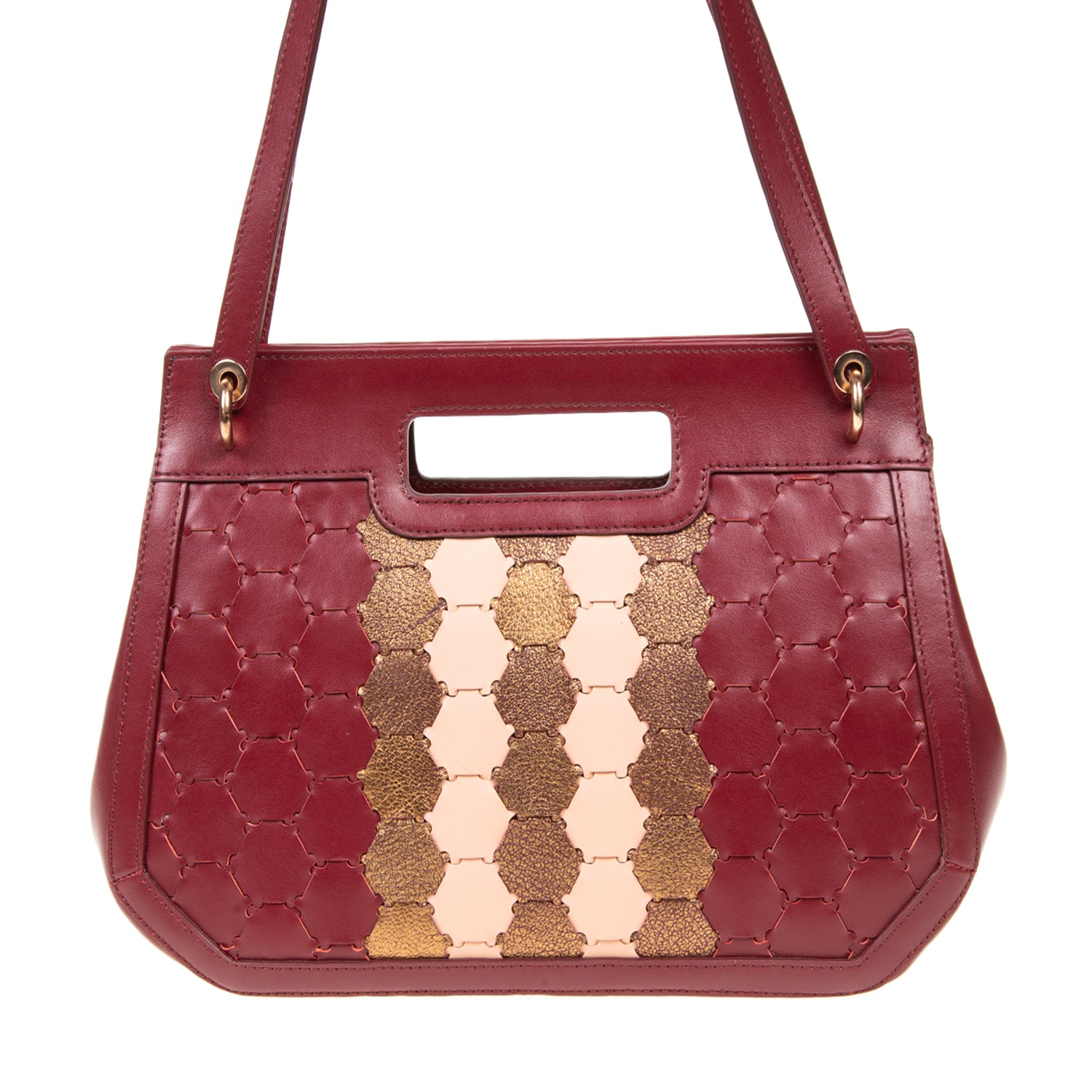 A F I F E | Leather Tote Bag Bordeaux/Bronze