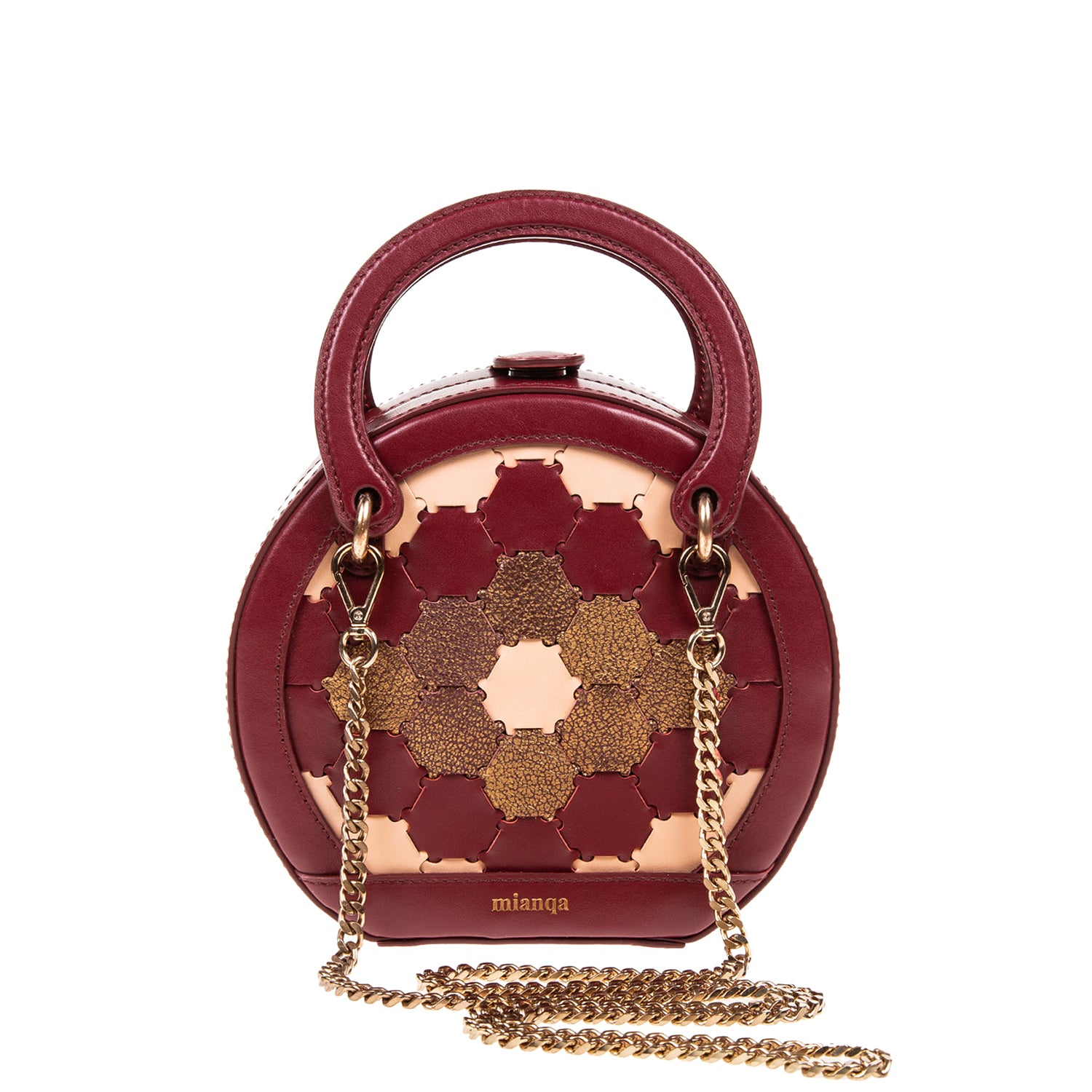 H A L I D E | Leather Circle Crossbody Bordeaux/Bronze