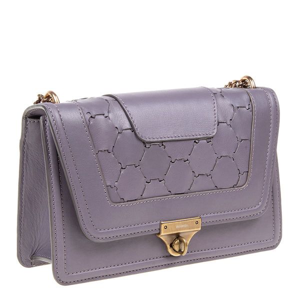 M U A L L A | Leather Shoulder Bag Violet Grey