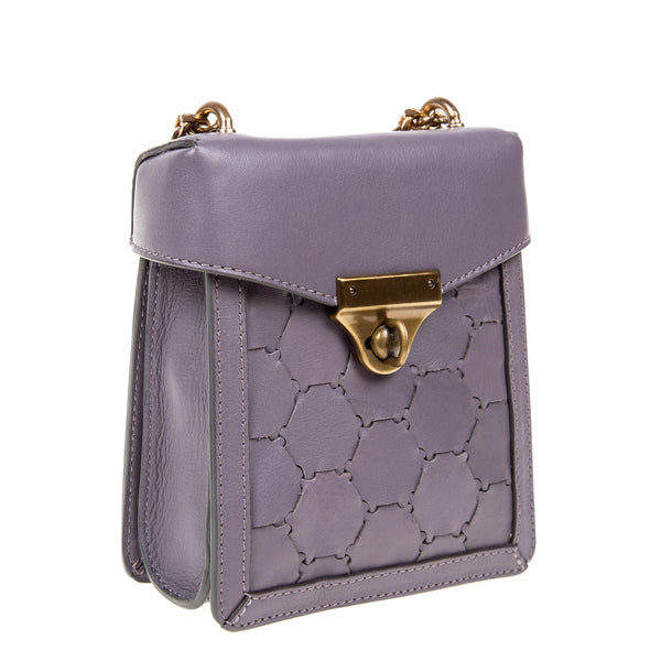 F U R E Y A | Mini Leather Crossbody Bag Violet Grey