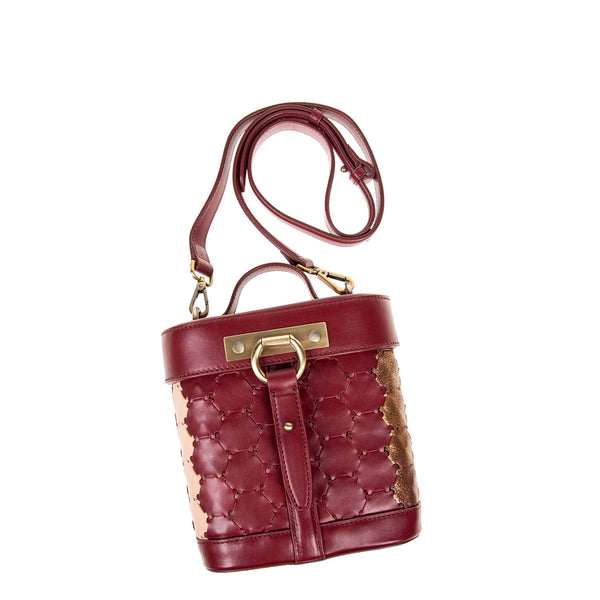 S A B I H A | Leather Oval Crossbody Bag Bordeaux/Bronze