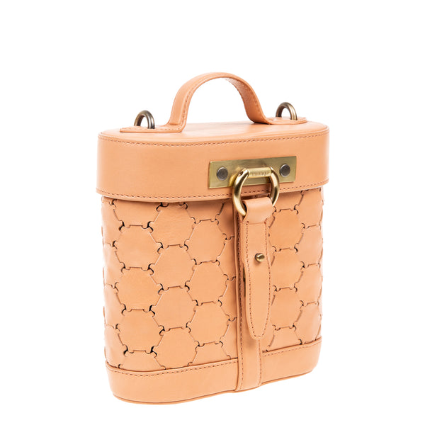 S A B I H A | Leather Oval Crossbody Bag Blush