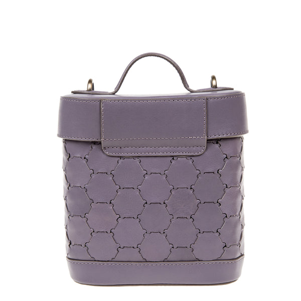 S A B I H A | Leather Oval Crossbody Bag Violet Grey