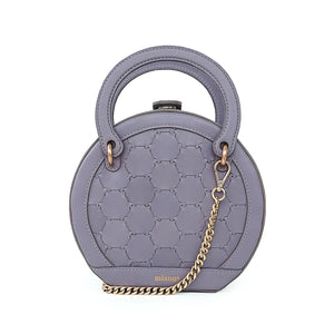 H A L I D E | Leather Circle Crossbody Bag Violet Grey