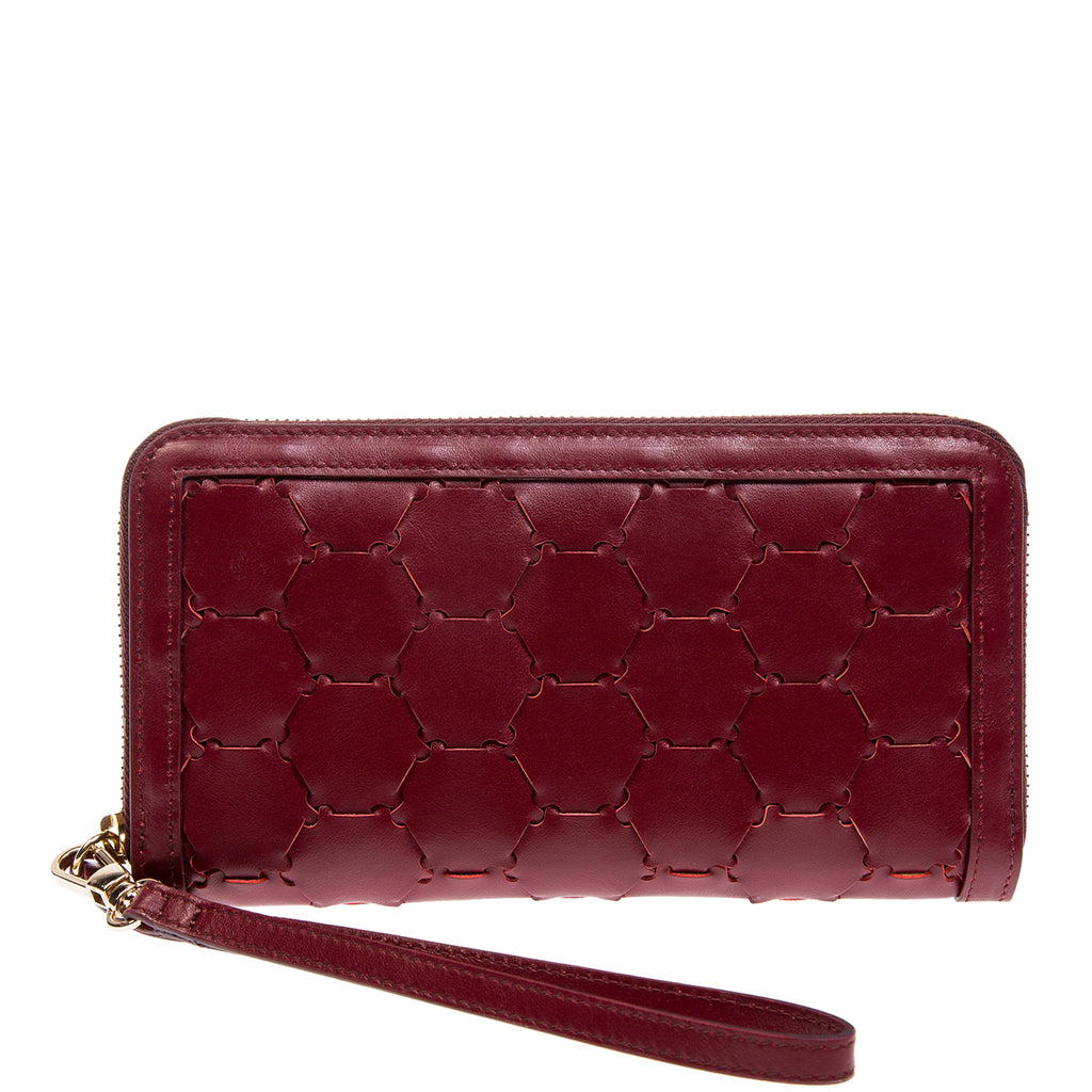 Woven Leather Wallet | Cherry