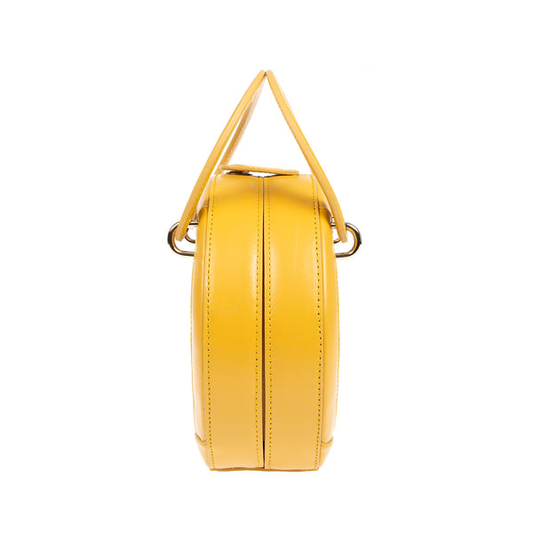 H A L I D E | Leather Circle Crossbody Bag Yellow