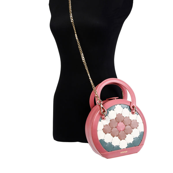 H A L I D E | Leather Circle Crossbody Bag Pink