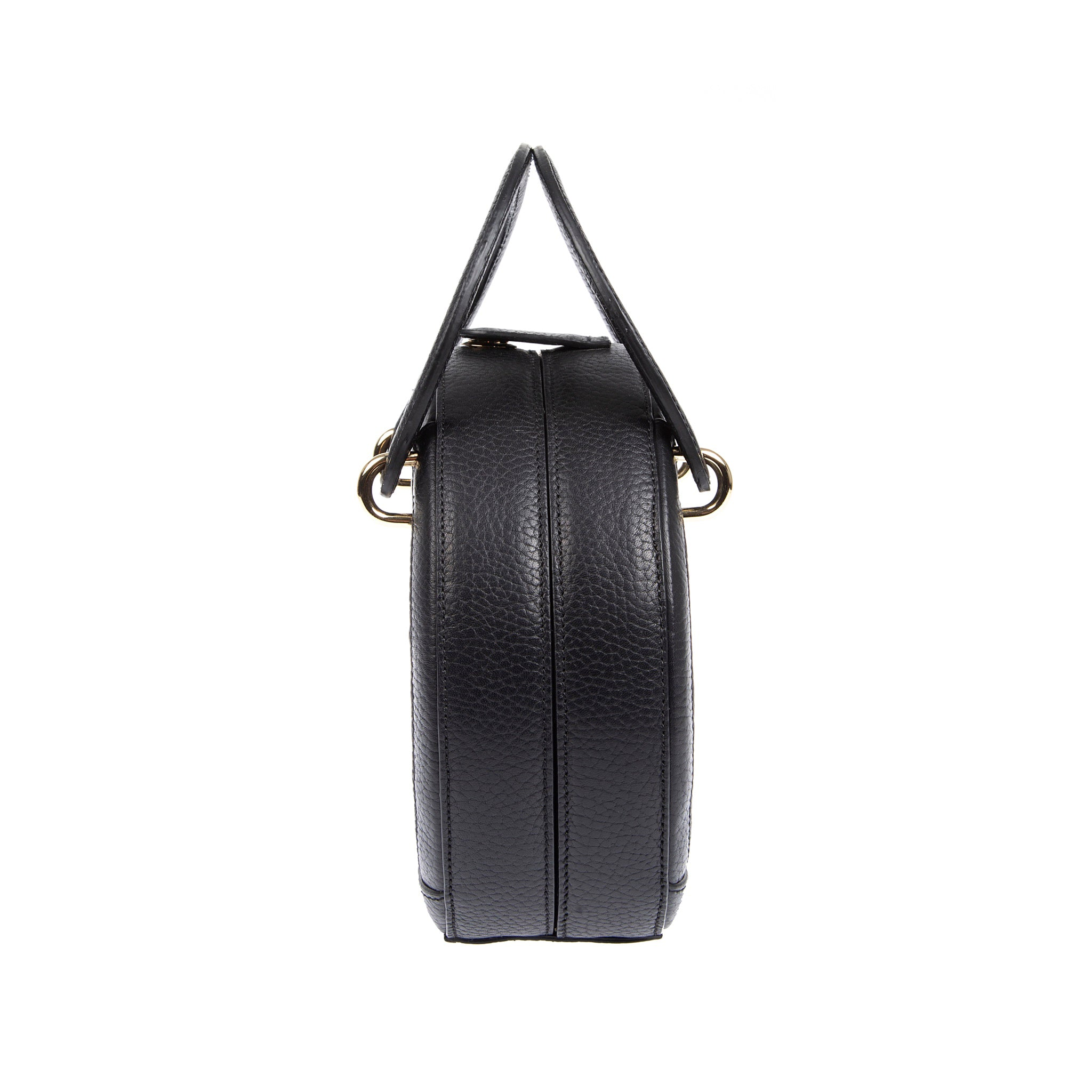 H A L I D E | Leather Circle Crossbody Bag Black
