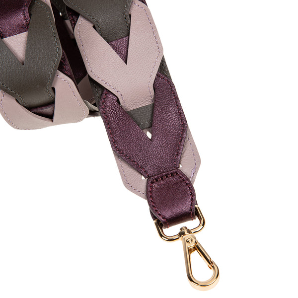 Woven Leather Shoulder Strap Purple