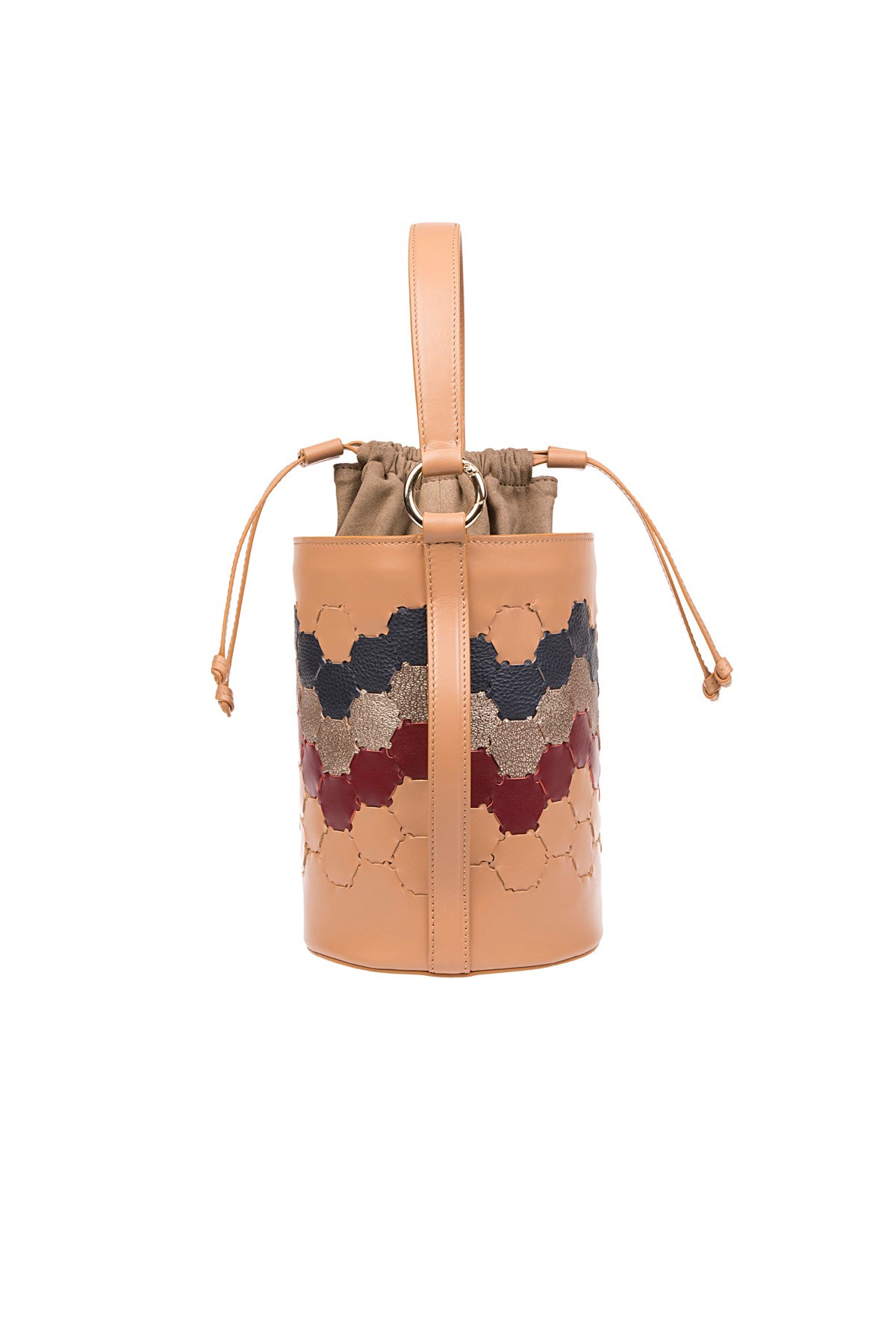 F E R I D E | Leather Cylinder Bag Tan