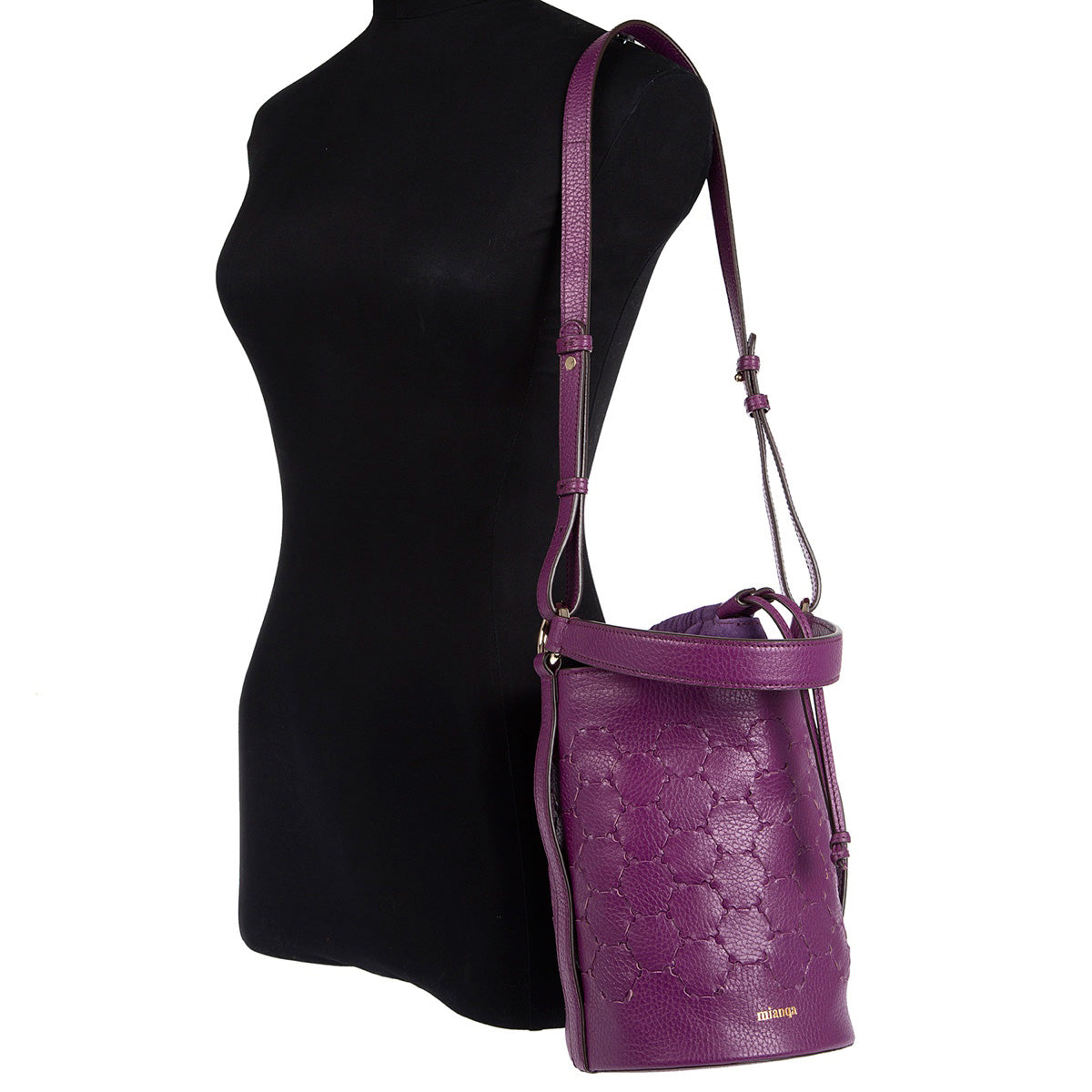 F E R I D E | Leather Cylinder  Bag Purple