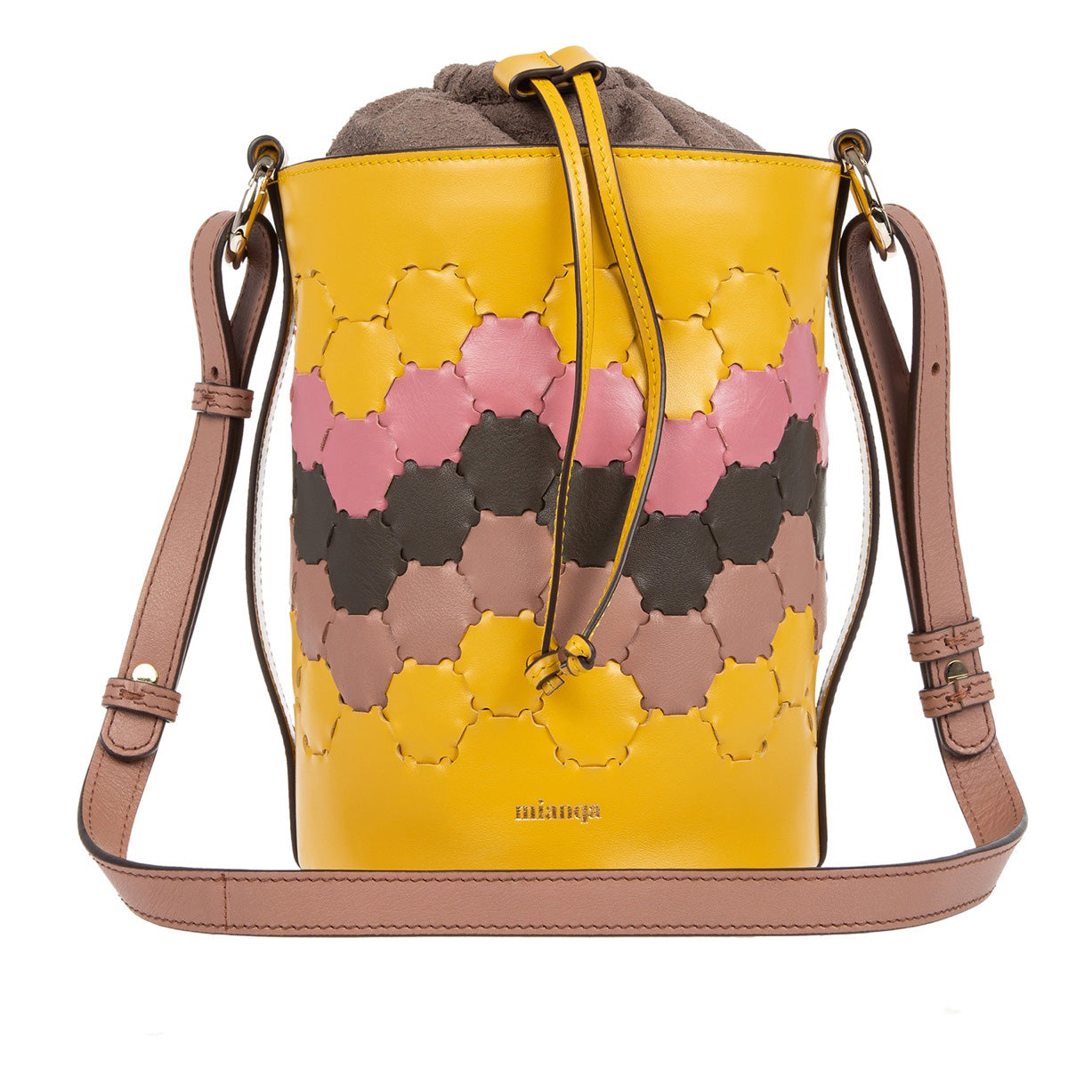 F E R I D E | Leather Cylinder  Bag Yellow