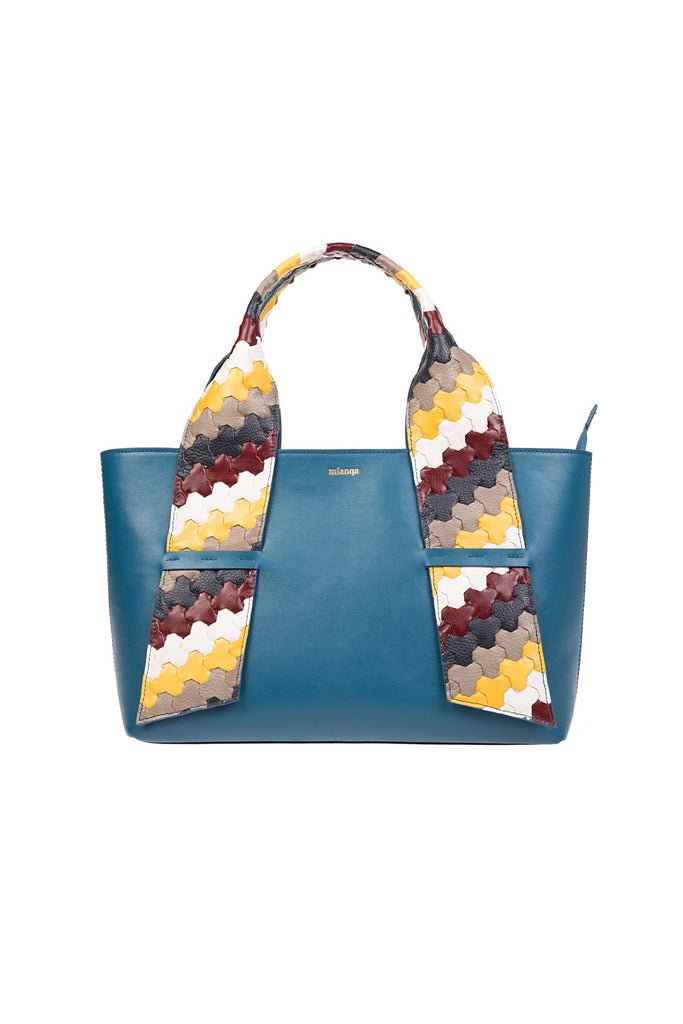 A D I L E | Leather Tote Bag Blue