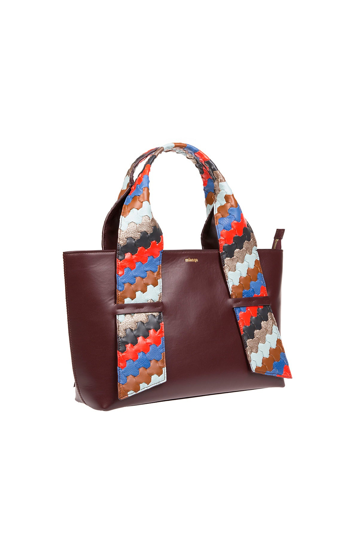 A D I L E | Leather Tote Bag Bordeaux