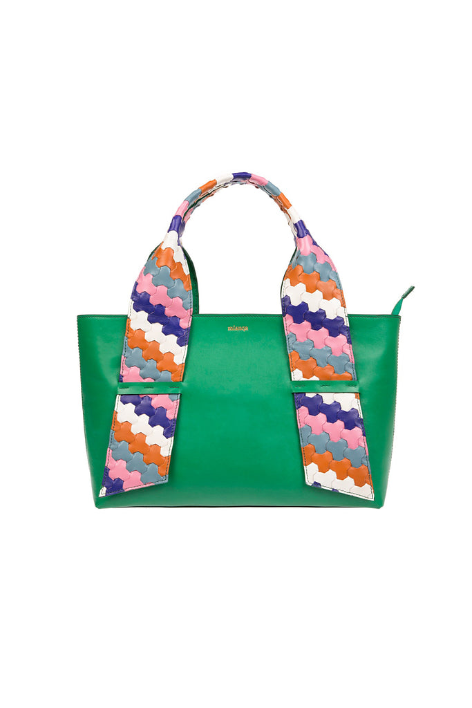 A D I L E | Leather Tote Bag Green