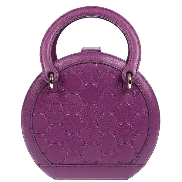 H A L I D E | Leather Circle Crossbody Bag Purple