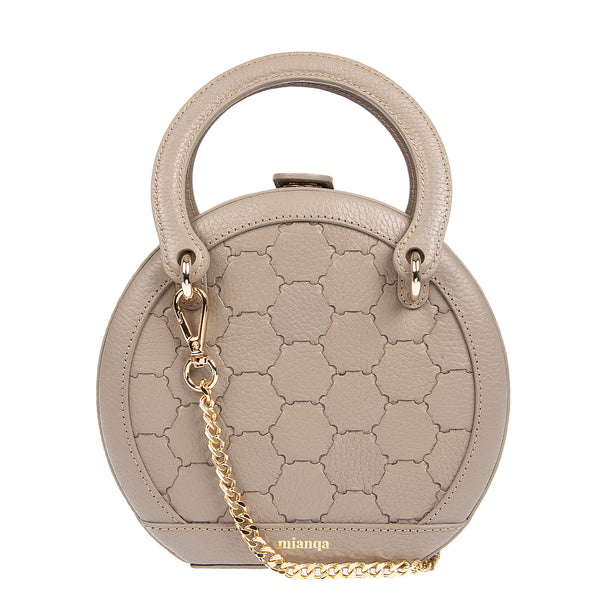 H A L I D E | Leather Circle Crossbody Bag Taupe